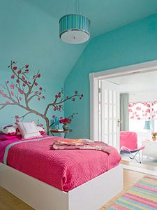 Dormitorio decorado en turquesa y rosa dec ralos for Cuartos de nina color turquesa