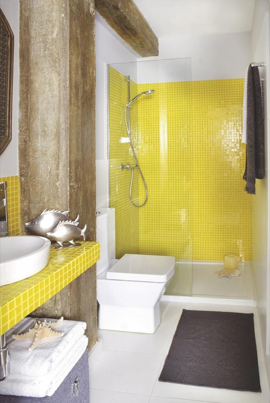 Baño Amarillo Decoracion:Yellow and Brown Bathroom