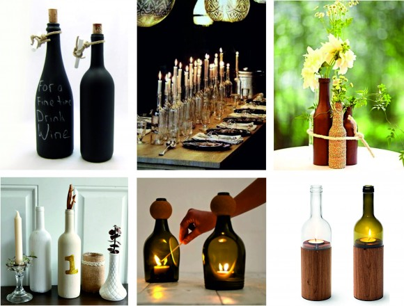Tres ideas para reciclar botellas de cristal y cambiar la for Objetos modernos para decorar el hogar