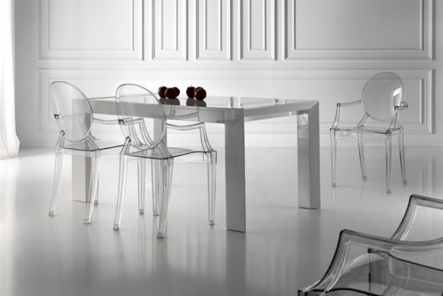 Decoraci n transparente dec ralos for Sillas plasticas comedor