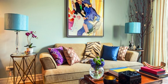 Living room interior in retro style full of colors.